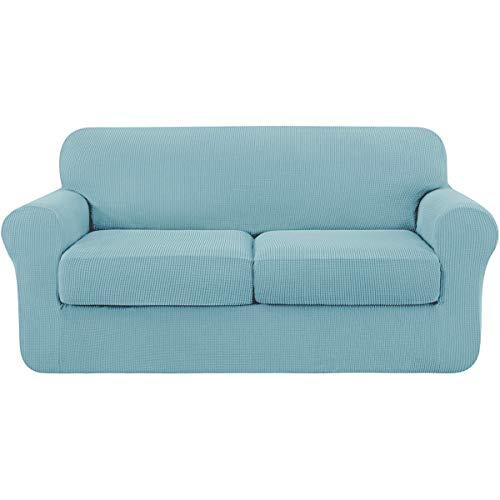 subrtex 2 Plazas Funda de Sofá de con 2 Cojines de Asiento Separados de Alta Elasticidad para Sillón Anti Arañazos Protector de Muebles Lavables (2 Plazas, Azul Claro)