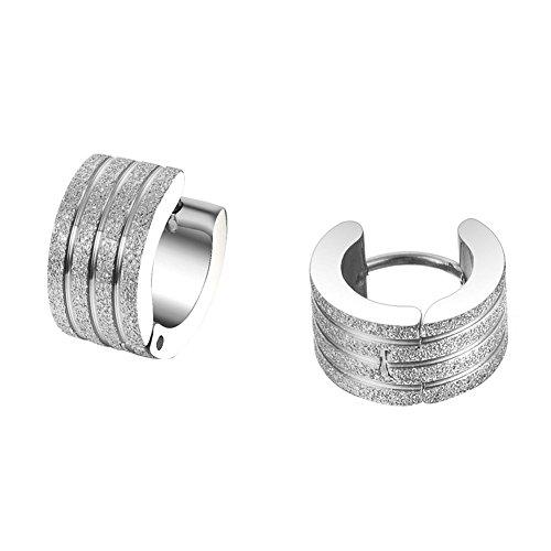 WeiMay Pendientes de clip de acero inoxidable con diseño de rayas plateadas para hombres y mujeres.