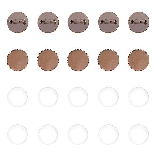 PandaHall 10 Set Accessori di Spilla in Bronzo Antico in Bronzo con vassoi in Ottone e cabochon in Vetro Trasparente per Spilla Fai da Te componenti di Spilla