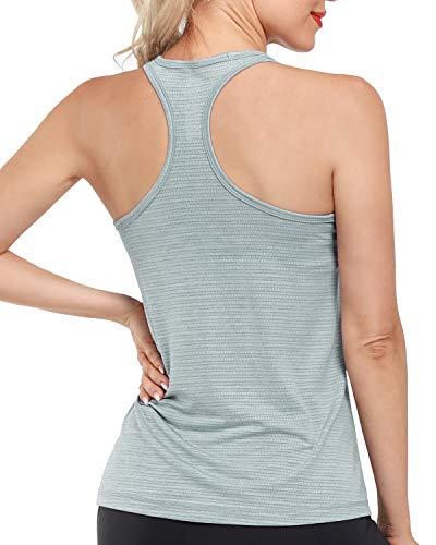 Promover Camisetas sin Mangas de Entrenamiento para Mujer Yoga Racerback Camisetas Deportivas sin Mangas Gimnasio Tanques Deportivos de Secado Rápido