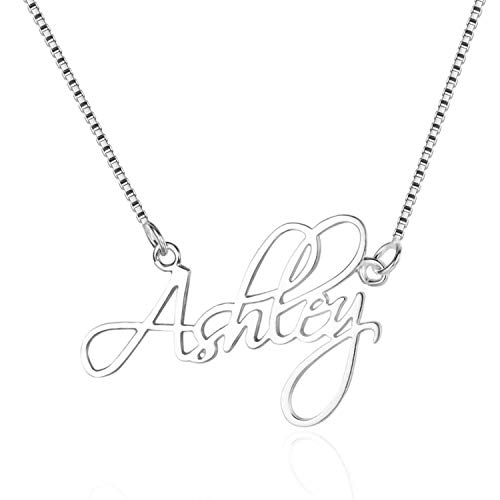 WENSDIA Personalized Names Custom Name Necklace Pendant,18K Gold Plated Nameplate Personalized Jewelry Name Chain Gift for Women (Silver 14')