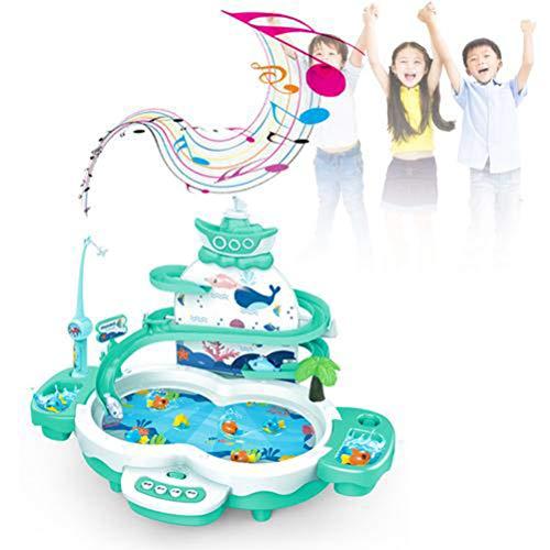 Halsey99 Puzzle Puppe Set, elektrische Puzzle Sound and Light Magnetic Aufhängespur Angeln Tisch Kinder Früherziehung Wasserspielzeug