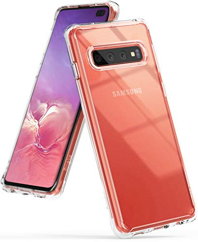 """Ringke Fusion Designed for Galaxy S10 Plus Case Crystal PC Back Drop Protective Cover for Galaxy S10 Plus (6.4"""") - Clear"""