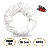 GORNORVA Recoil Starter Rope Pull Cord, 12 Meter (Dia. 3mm) Smooth Braid Nylon Recoil Pull Starter Rope for Large Mowers, Snow Blowers,Augers, Large Chainsaws,ATC,ATV,Snowmobiles