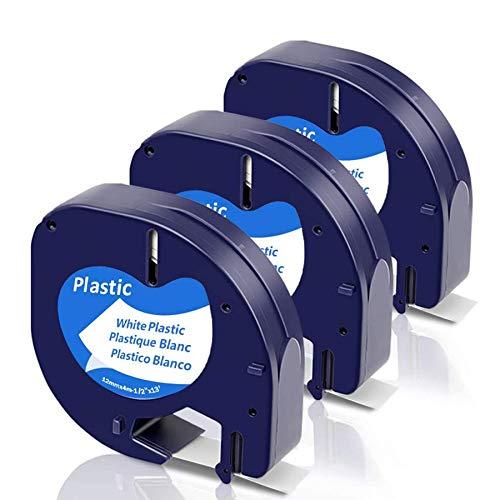 Fimax Kompatibel Etikettenband als Ersatz für Dymo Letratag Plastic White 12mm x 4m, Kunststoff Schriftband S0721660 für LetraTag xr LT-100H LT-100T LT110T Beschriftungsgerät, 3er Schwarz auf Weiß