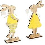 GRANDE DECORAZIONE DI PASQUA: con questi supporti per coniglietti pasquali che puoi posare, l'atmosfera pasquale si diffonderà in tutta la casa! BELLISSIMO DESIGN IN LEGNO: la decorazione pasquale è realizzata in legno ed è molto attraente come un co...