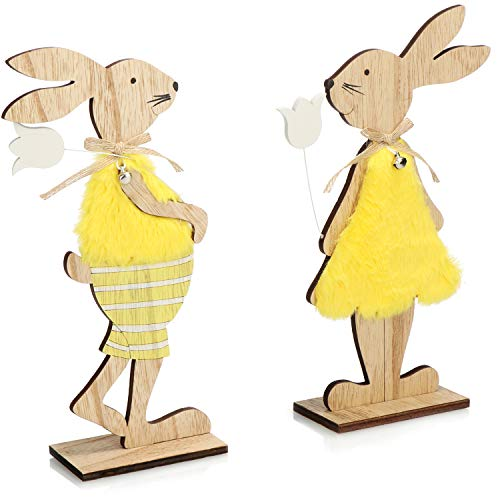 com-four® 2X Figura Decorativa con Soporte - Conejos de Pascua con Vestido y Flor - Decoración de Pascua de Madera para Colocar (Set04 - Conejos con Flor)