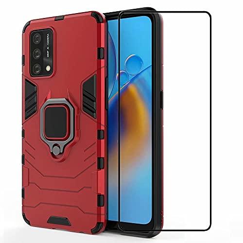 DoAo Funda para Xiaomi Mi Mix 4, cubierta trasera de PC dura de TPU suave, soporte integrado, protector de pantalla de vidrio templado para Xiaomi Mi Mix 4-Rojo