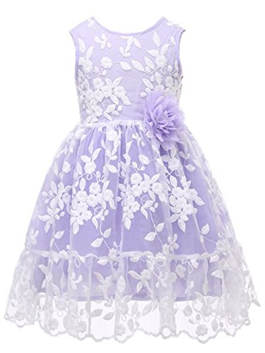 Bow Dream Rustic Flower Girl Dress Bridesmaid Lace Lavender 2