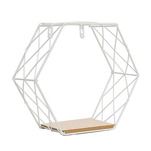 Cicony - Estante flotante para colgar en la pared de rejilla de hierro geométrico hexagonal geométrico para arte Decor