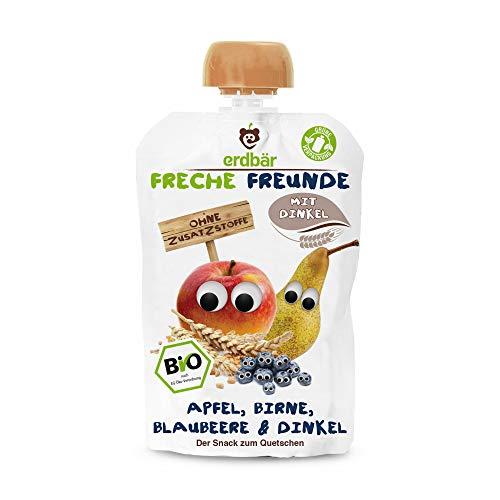 Freche Freunde Bio Quetschie Apfel, Birne, Blaubeere & Dinkel 6-er Pack (6 x 100ml)