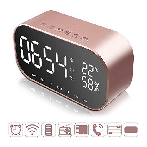 Reloj despertador digital Bluetooth, relojes digitales con puerto de carga dual USB, altavoz estéreo de doble 3 W, radio FM, 4.2 Bluetooth, tarjeta AUX TF, regulable, repetición, termómetro