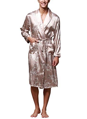 Westkun Herren Morgenmantel Kimono Bademantel Satin Lang Nachtwäsche Robe Gedruckt Strickjacke Japanische Pyjamas Nachtwäsche V Ausschnitt mit Taschen und Gürtel(Kamel,L)