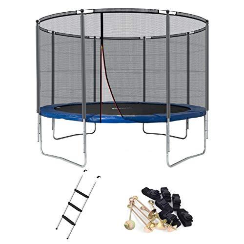 Ampel 24 Outdoor Trampolin 366 cm blau mit verstärktem Netz,gepolsterten Stangen & Stabilitätsring,Belastbarkeit 160 kg,Set mit Leiter & Windsicherung