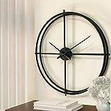 Kuingbhn Redondo Reloj de Pared Moderno Grandes Decorativos Silencioso Interior de Cuarzo No-Ticking para Sala de Estar Negro 52cm