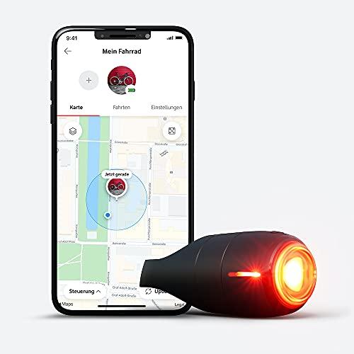 Vodafone Curve Bike Light & GPS Tracker, Fahrrad Brems- Rücklicht, Unfallerkennung, Hilfemeldungen, Diebstahlschutz, Zonen, Tourenansicht, robust, wasserdicht, IP67, StVZO zugel