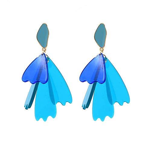 HFA Novedad Joyas-Pendientes de mujer Pendientes Pendientes Pendientes de gota Oreja, Pendiente de múltiples piezas de placa de acetato Pendientes de flor Pendientes azules, europeo