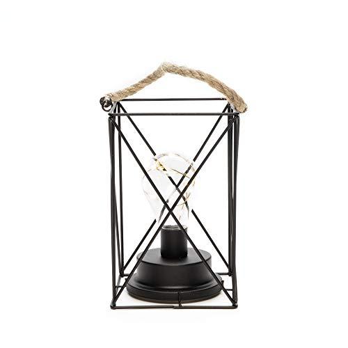 Konstsmide Square Lantern met Micro Rope Handle / 6 uur timer / 3 x AA batterijen (exclusief) 9 Warm White String Lights GNOS LED metalen lantaarn 1816-700 binnen 9 warm wit, metaal, zwart