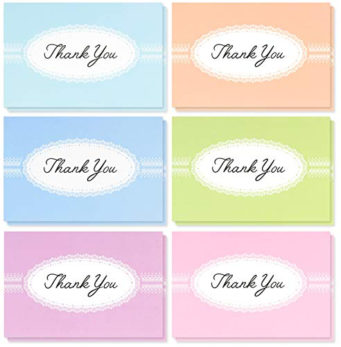 Thank You Cards Bulk - 48-Pack Thank You Cards, 6 Pastel Lace Designs, Thank You Notes, Envelopes Included, 4 x 6 Inches