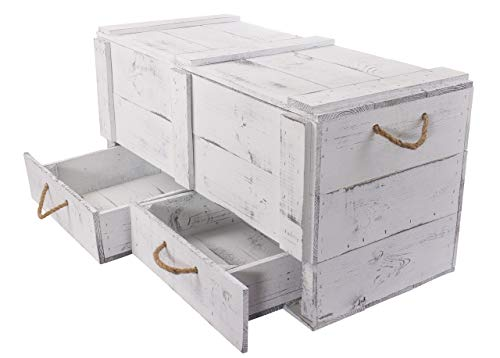 Obstkisten-online 1x Vintage TRUHE - Holztruhe mit Deckel inklusive Zwei Schubladen, mit Kordeln als Griffe - NEU - 85,5x42x43,5 cm - für Decken usw - 5