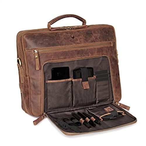 Borsa per laptop DONBOLSO® San Francisco da 15,6 pollici | Cuoio | Borsa a tracolla per laptop | Cartella per notebook |Borsa per uomini e donne (marrone)