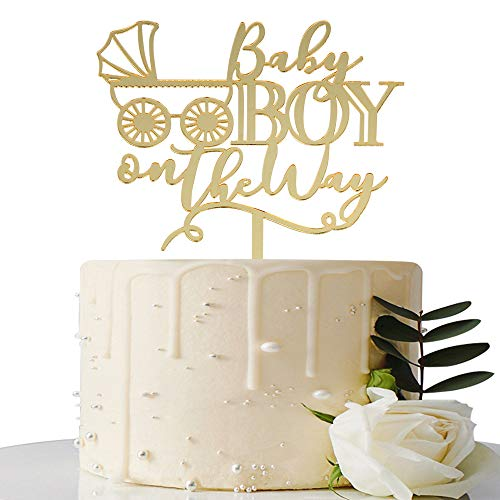 Mirror Gold Baby Boy on the Way Cake Toppers - Baby Shower / Birthday...