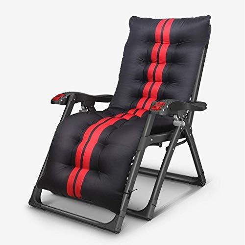 OESFL Reclinable Plegable al Aire Libre Sillas de Verano Patio Cama con Respaldo reclinable Ajustable Resto dobleces Planos 150KG Capacidad (Color : Black+Thick Pad)
