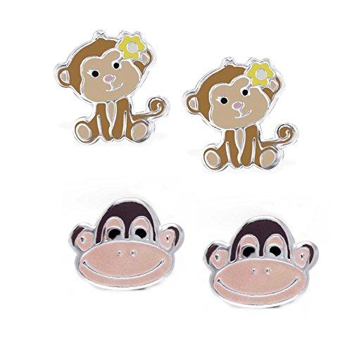 SL-Silver 2pezzi set orecchini da bambina divertente scimmia 925Argento in confezione regalo