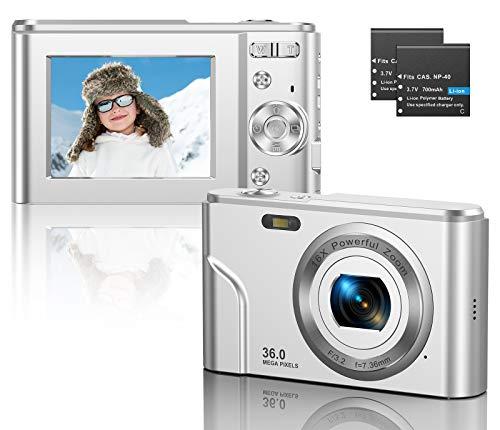 CLUINIGO Fotocamera Digitale Compatte FHD 1080P 36MP Pocket Vlogging Vidio Fotocamera per YouTube con zoom digitale 16x, schermo LCD da 2,4 pollici per bambini anziani principianti viaggi argento