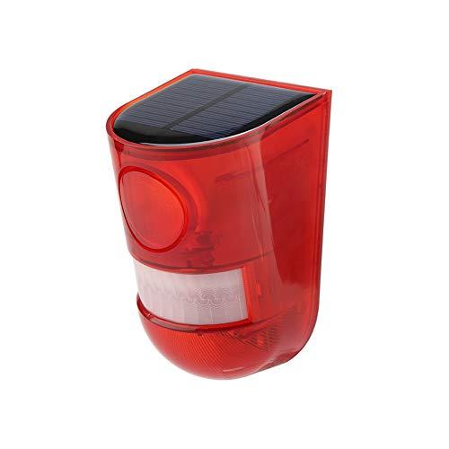 Luz de advertencia estroboscópica LED de emergencia con energía solar, lámpara de jardín inalámbrica Luz de alarma LED Lámpara de advertencia de sonido y luz al aire libre Resistencia ultra larga