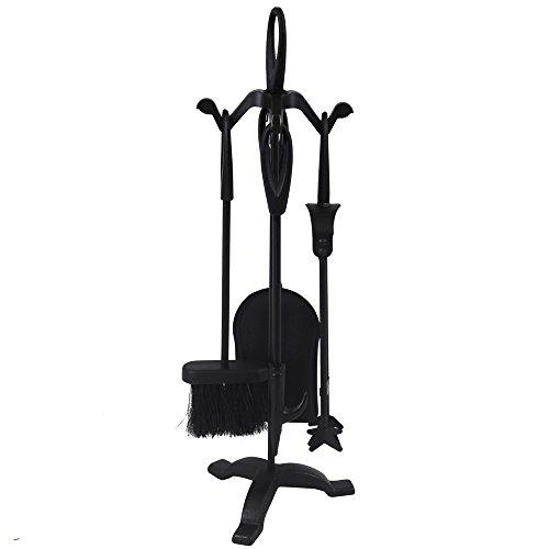 JVL Cotswold Black iron fireside fire tools 5 piece companion set