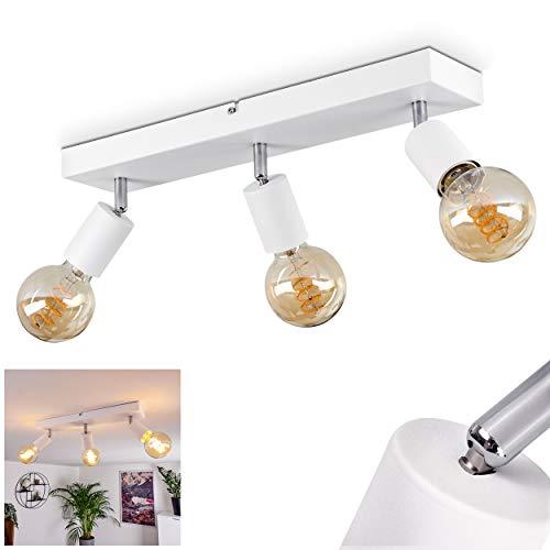 Deckenleuchte Tulla, Deckenlampe aus Metall in Weiß, Moderne 3-flammige Zimmerlampe, Leuchtenköpfe sind dreh- und schwenkbar, 3 x E27 max. 40 Watt, für LED Leuchtmittel geeignet