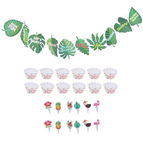 PRETYZOOM 25Pcs Hawaiano Banner Cartoon Cupcake Wrapper Cake Toppers Sets Tropical Luau Party Decoración Colgante para Fiesta de Cumpleaños (Colores Surtidos)