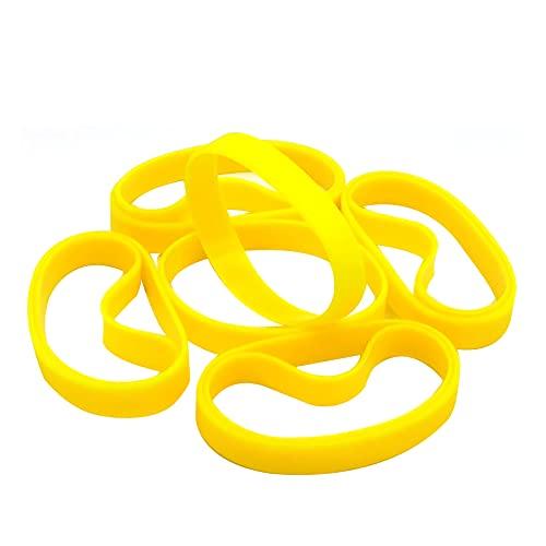 LVNRIDS Pulseras de Silicona 100 pcs, Pulsera elástica de Goma para Fiestas Deportivas por niños niñas Amarillo