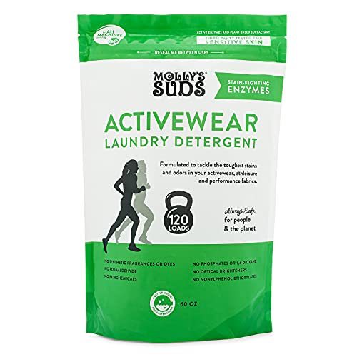 Molly's Suds Active Wear Laundry Detergent | Natural Extra Strength Laundry Powder, Stain Fighting & Safe for Performance Fabrics and Sensitive Skin | 120 Loads