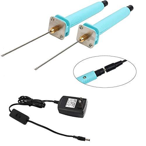 YaeTek 2 Pcs Foam Cutter Electric Cutting Machine Pen 100V-240V 15W Craft Hot Knife 10CM Styrofoam Cutting Pen with Electronic Voltage Transformer Adaptor, 2 x Foam Pen Cutters