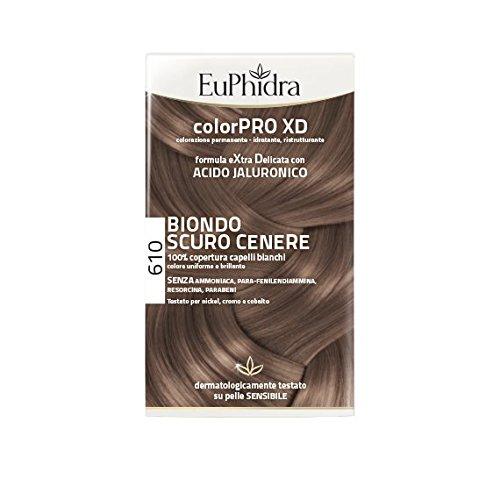 Euphidra Colorpro XD con Acido Jaluronico Più Idratazione, Più Morbidezza, Più Volume, Più Lucentezza, 610 Biondo Scuro Cenere