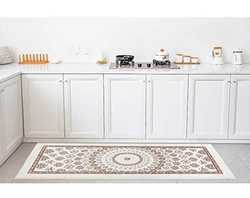 topcharmeキッチンマット120玄関マット厚手防音厚さ12mm年間使用掃除易い抗菌防臭滑り止めエバ柄(ベージュ,45X120CM)…