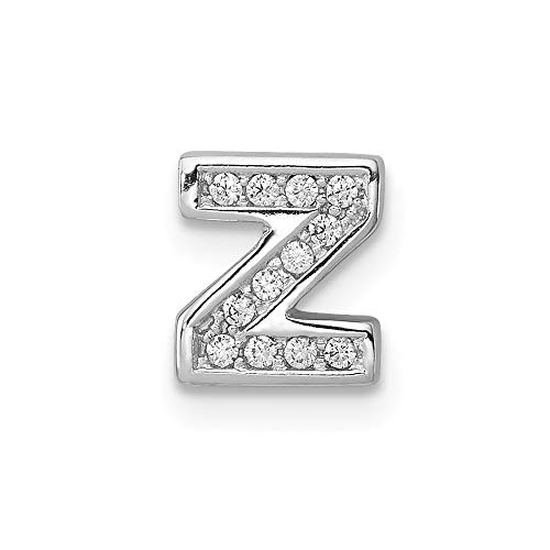 925 Sterling Silver Cubic Zirconia Cz Letter Z Initial Monogram Name Slide Pendant Charm Necklace Chain Fine Jewelry For Women Gifts For Her