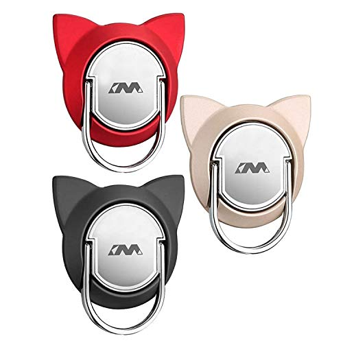 Cat Cell Phone Ring Holder Stand for Magnetic Car Mount,Rotating Phone Finger Ring Holder Grip Pop Kickstand for Smartphones(3 Pack Red Gold Black)