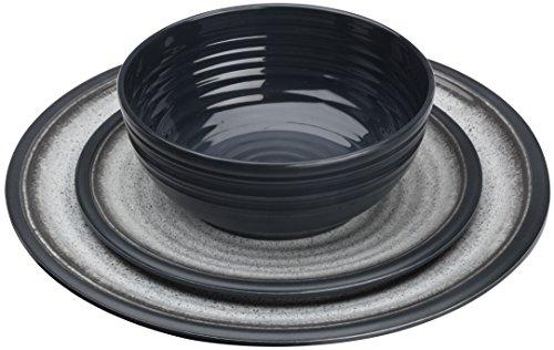 Flamefield Granite - Juego de Comedor de melamina (12 Piezas), Color Gris