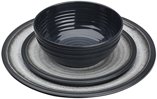Flamefield Granit Melamin-Esstisch-Set, Grau, 12-teilig