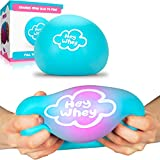 HeyWhey Giant Stress Ball - Exciting Color Changing Jumbo Ball Blue to Pink | Mega Fun Stretchy Dough Ball and Satisfying Large Squishy Toy | Best Big Sensory Squeeze Toy for Kids (Blue to Pink)