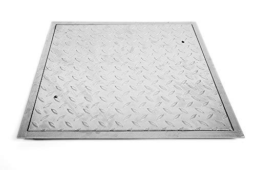 SA-70 Stahl Schachtabdeckung verzinkt begehbar 700 x 700 mm Tränenblech Schachtdeckel Deckel mit Rahmen Kanalschacht quadratisch eckig