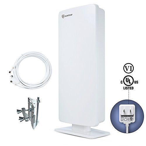 ANTOP Outdoor TV Antenna Flat Panel TV Antenna 65 Miles Multi-directional for Indoor/Mobile Use with 40ft Detachable Coaxial Cable, Waterproof, UV Coating, and New Design(AT-400)