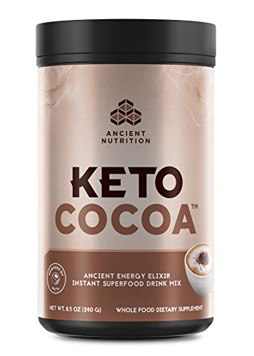 Ancient Nutrition KetoCOCOA Energy Elixir Powder, 20 Servings, Keto Diet Supplement, MCTs from Coconut, Organic Cocoa Beans, Energy Booster…