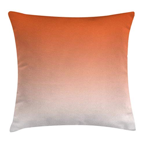 ZHIZIQIU Ombre Throw Pillow Cushion Cover, Scorching Sunset in The Hot Desert Inspired Dusk Orange Ombre Digital Art Design Print, Decorative Square Accent Pillow Case, 18 X 18 inches, Orange