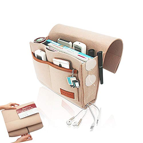 Bedside Pocket, Bedside Storage Caddy, Upgraded U Shape Storage Bed Pocket Organizer with 4 Small Pockets for Remotes, Phones, Books, Tablets. Double Felt under the Mattress,Not Easy to Slip Out