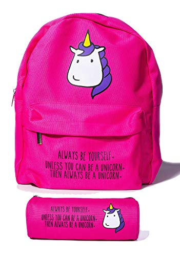 Mini Unicorn Backpack for Women by BubbleGum Cases - Cute Small School Bag for Girls in Pink or Yellow - Lightweight Canvas Perfect for Teens Kids and Toddlers - Aesthetic Kawaii Cat Design Available