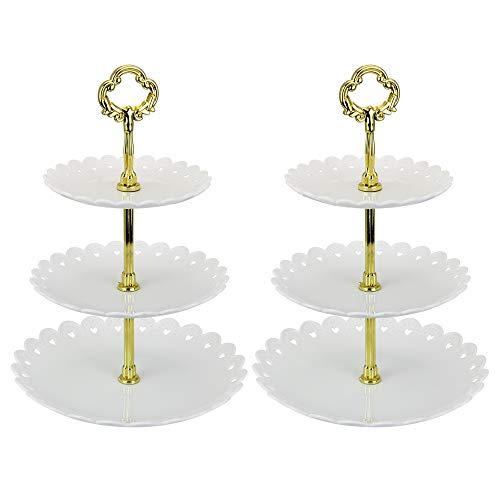 TANCUDER Obstteller(22/18/15) 3-Stöckig Etagere Kunststoffstange Mittellochausstech für Hochzeitstorte Tortenständer Tortenhalter Torten (golden)